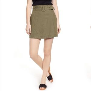 BP Army Green Belted Linen Mini Skirt Medium 8/10